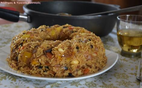Αρωματικό ρύζι με μανιτάρια και πολύχρωμες πιπεριές